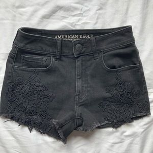 faded black american eagle denim shorts lace